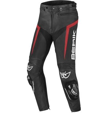 Кожен мото панталон Berik Misle черно/червено